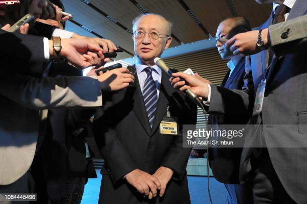 Director general Yukiya Amano speaks to media reporters after his meeting with Prime Minister Shinzo Abe at the prime minister's official residence...