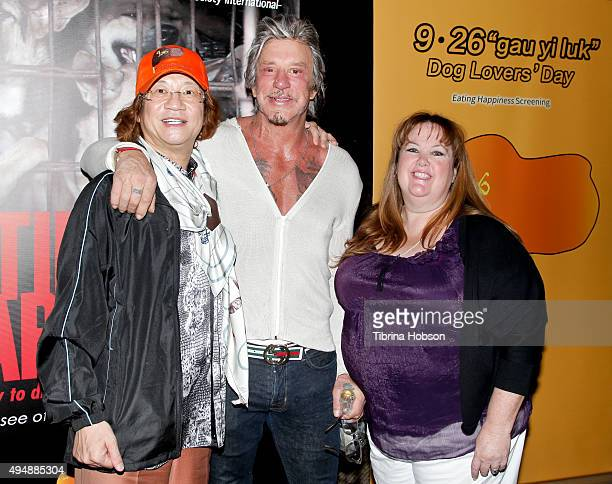 Director Genlin Mickey Rourke and Dr Lisa Newell attend a screening of 'Eating Happiness' presented by World Dog Alliance at Pacific Theatre at The...