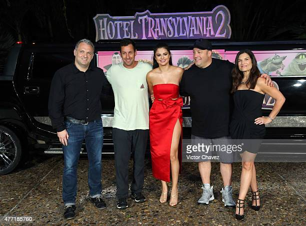Director Genndy Tartakovsky actors Adam Sandler Selena Gomez Kevin James and Michelle Murdocca attend the 'Hotel Transylvania 2' photo call during...