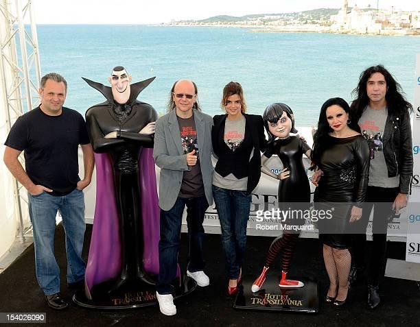 Director Genndy Tartakovsky Santiago Segura Clara Lago Alaska and Mario Vaquerizo attend a photocall for their latest film 'Hotel Transilvania 3D' at...