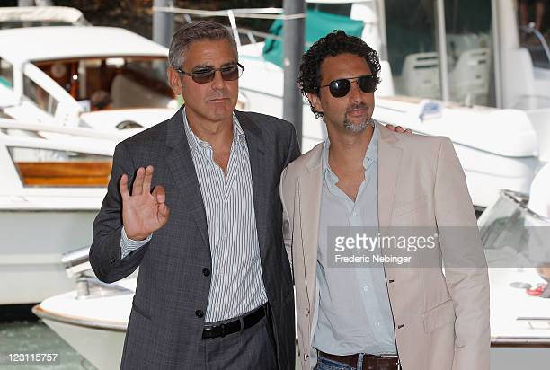 Director George Clooney and writer Grant Heslov from the film Ides Of March arrive at the Hotel Excelsior during the 68th Venice Film Festival on...