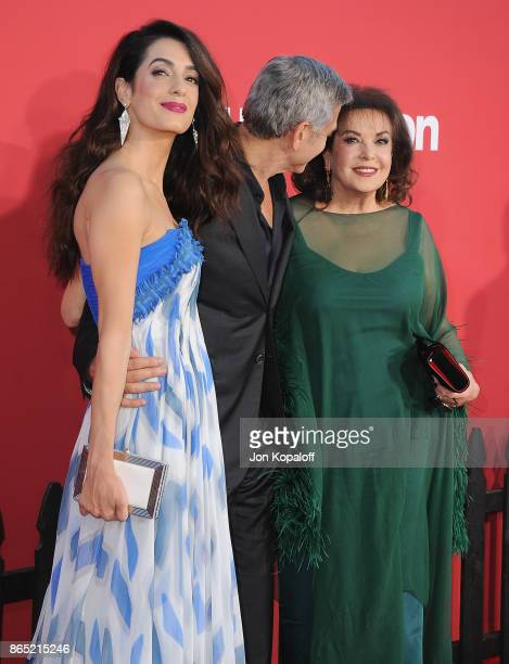 Director George Clooney wife Amal Clooney and Baria Alamuddin arrive at the Los Angeles Premiere 'Suburbicon' at Regency Village Theatre on October...