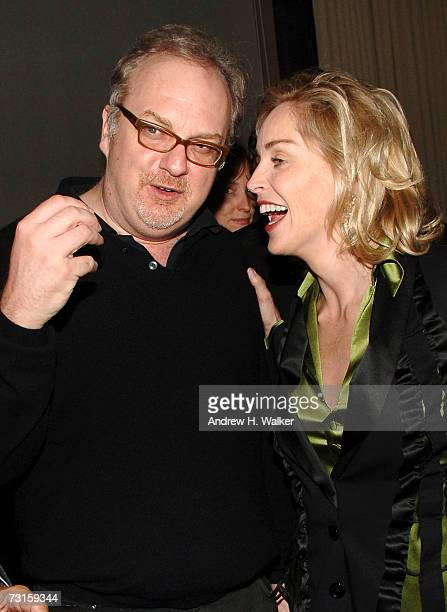 Director George Hickenlooper and Sharon Stone talk at a dinner for Factory Girl hosted by The Cinema Society and Calvin Klein at the Gramercy Park...