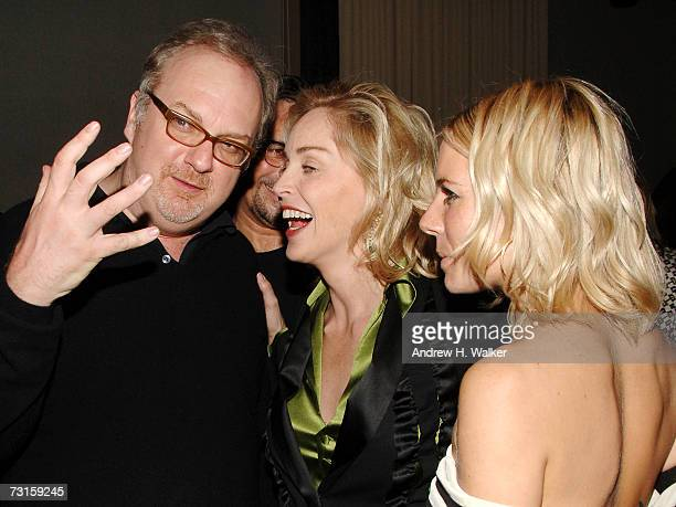 Director George Hickenlooper talks with Sharon Stone and Sienna Miller at a dinner for Factory Girl hosted by The Cinema Society and Calvin Klein at...