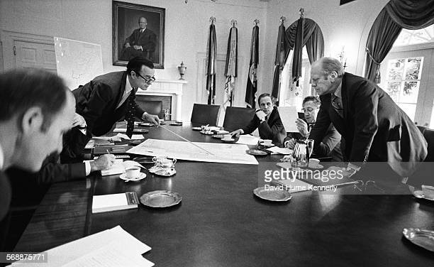 Director George HW Bush in a Cabinet Room with President Gerald Ford during the Lebanon crisis