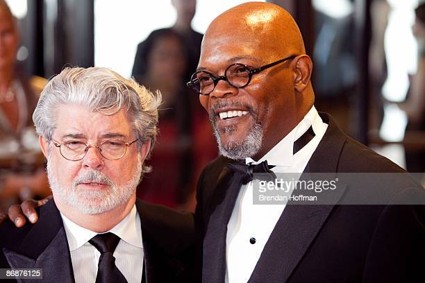 Director George Lucas and actor Samuel L Jackson arrive at the White House Correspondents' Association dinner on May 9 2009 in Washington DC This...
