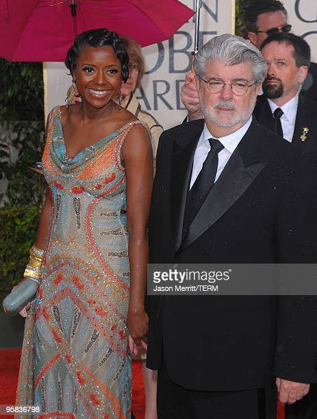 Director George Lucas and Mellody Hobson arrive at the 67th Annual Golden Globe Awards held at The Beverly Hilton Hotel on January 17, 2010 in...