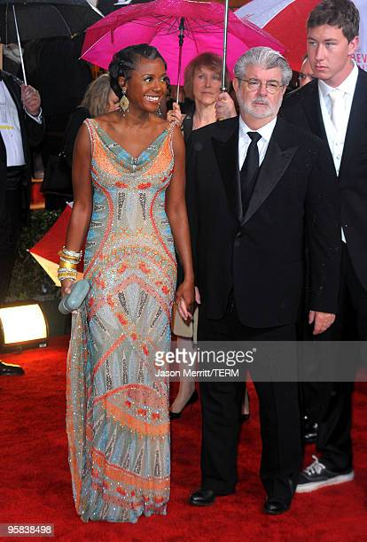 Director George Lucas and Mellody Hobson arrives at the 67th Annual Golden Globe Awards held at The Beverly Hilton Hotel on January 17, 2010 in...