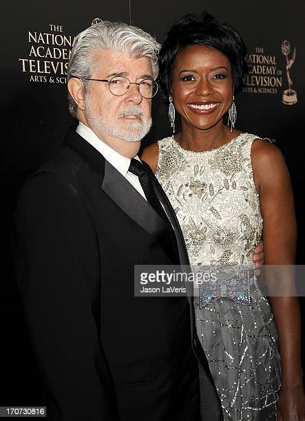 Director George Lucas and Mellody Hobson attend the 40th annual Daytime Emmy Awards at The Beverly Hilton Hotel on June 16, 2013 in Beverly Hills,...