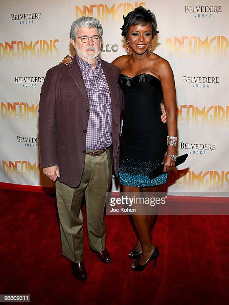 """Director George Lucas and Mellody Hobson attend the opening night of """"Dreamgirls"""" at The Apollo Theater on November 22, 2009 in New York, New York."""
