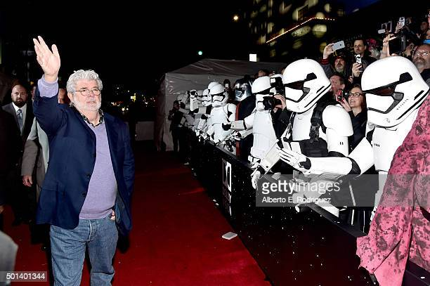 """Director George Lucas attends the World Premiere of """"Star Wars The Force Awakens"""" at the Dolby El Capitan and TCL Theatres on December 14 2015 in..."""