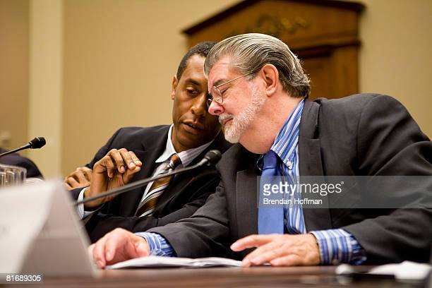 Director George Lucas chairman of the George Lucas Educational Foundation testifies with Rey Ramsey CEO of One Economy at a hearing on Capitol Hill...