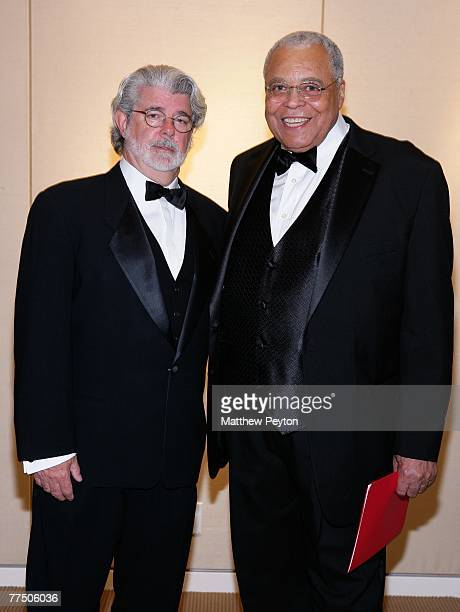 Director George Lucas poses with actor James Earl Jones during the 25th Anniversary Princess Grace Awards recognizing emerging talent in theater...