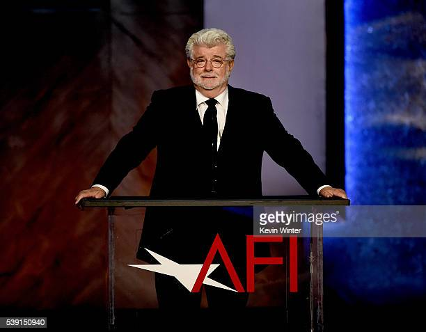 Director George Lucas speaks onstage during American Film Institute's 44th Life Achievement Award Gala Tribute to John Williams at Dolby Theatre on...
