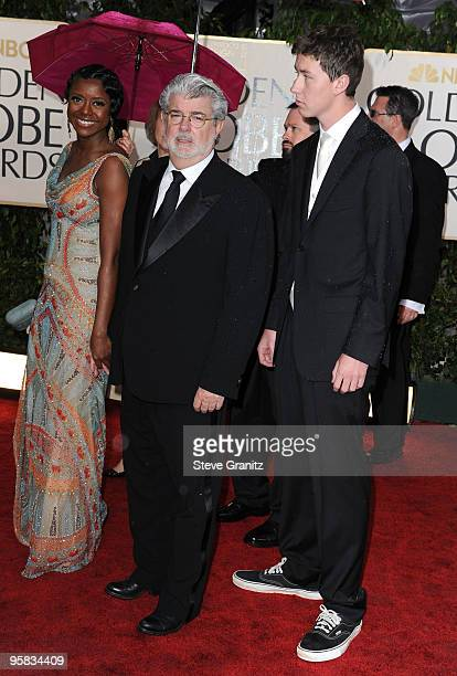 Director George Lucas with Mellody Hobson and guest arrive at the 67th Annual Golden Globe Awards at The Beverly Hilton Hotel on January 17, 2010 in...