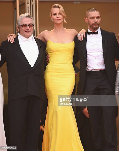 "Director George Miller, actors Charlize Theron and Tom Hardy attend the ""Mad Max: Fury Road"" Premiere during the 68th annual Cannes Film Festival on..."