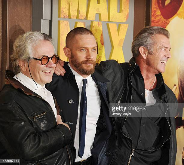 Director George Miller actors Tom Hardy and Mel Gibson arrive at the Mad Max Fury Road Los Angeles Premiere at TCL Chinese Theatre IMAX on May 7 2015...