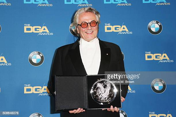 """Director George Miller, recipient of the Feature Film Nomination Plaque for """"Mad Max: Fury Road"""", poses in the press room during the 68th Annual..."""