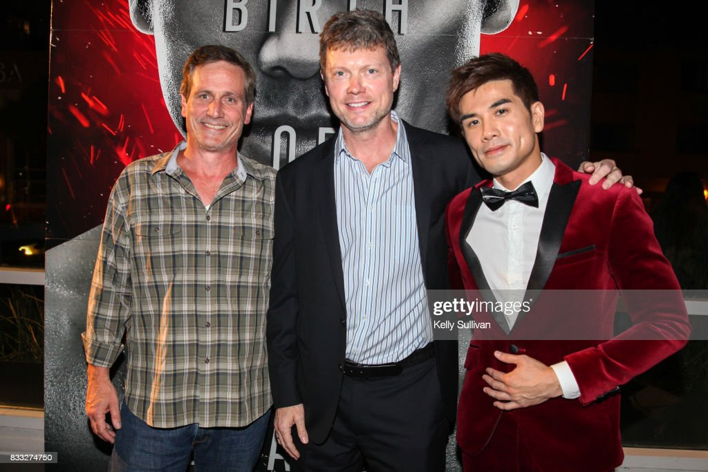 Director George Nolfi (center) and actor Philip Ng (R) pose for a photo with President of BH Tilt John Hegeman (L) at a special screening of BH Tilt & WWE Studios' 'Birth of the Dragon' at the AMC Dine-In Kabuki 8 theater on August 16, 2017 in San Francisco, California.