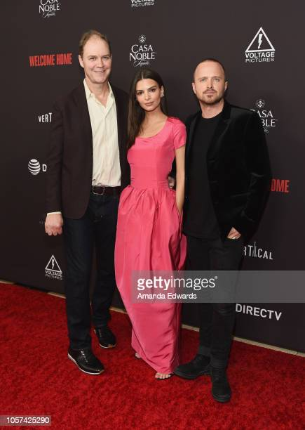"Director George Ratliff and actors Emily Ratajkowski and Aaron Paul arrive at the ""Welcome Home"" premiere at The London West Hollywood on November 4,..."