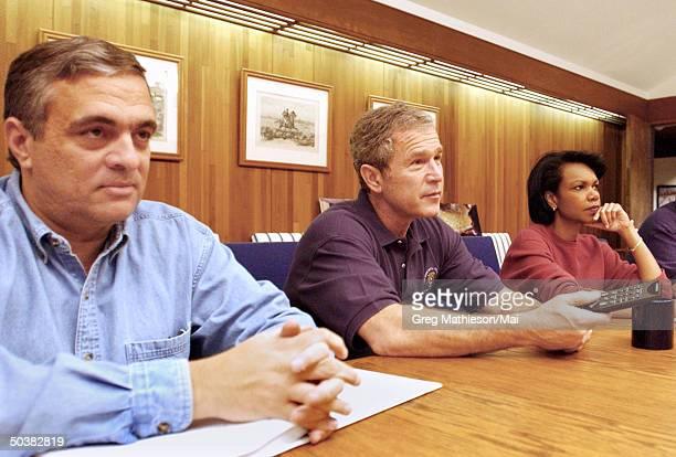 CIA Director George Tenant President George W Bush National Security Advisor Condoleezza Rice meeting with his National Security Advisors via...