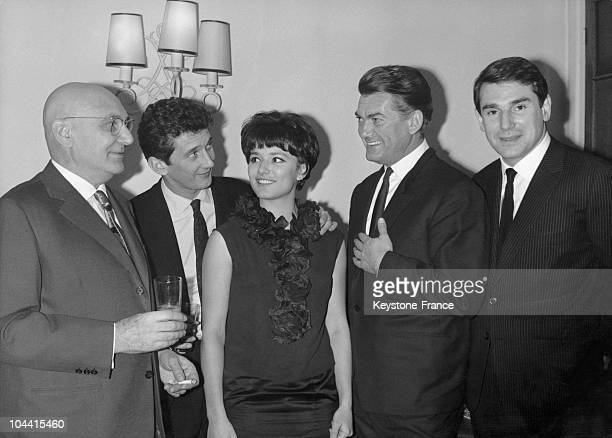 Director Georges LAMPIN poses with actors Daniel CAUCHY Serena Vergano the two stars of his latest film Mathias Sandorf and Jean Marais and Robert...
