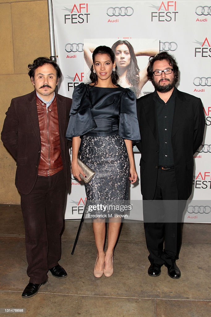 Director Gerardo Naranjo (L), actress Stephanie Sigman, and producer Pablo Cruz arrive at the 'Miss Bala' Centerpiece Gala during AFI FEST 2011 presented by Audi at the Egyptian Theatre on November 4, 2011 in Hollywood, California.