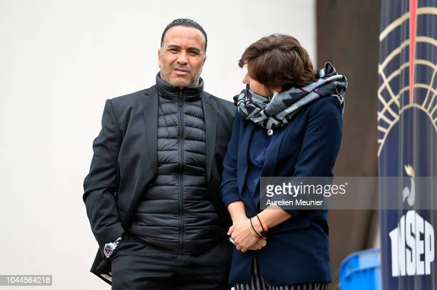 Director Ghani Yallouz and French Minister of Sports Roxana Maracineanu wait for Prince Edward Earl Of Wessex and Sophie Countess Of Wessex to...