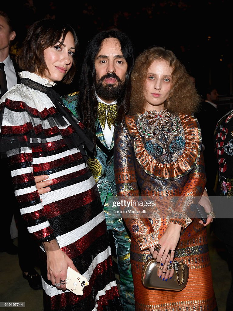 Director Gia Coppola, wearing Gucci; Gucci Creative Director Alessandro Michele; and artist Petra Collins, wearing Gucci, attend the 2016 LACMA Art + Film Gala Honoring Robert Irwin and Kathryn Bigelow Presented By Gucci at LACMA on October 29, 2016 in Los Angeles, California.
