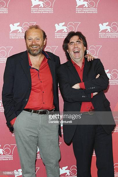 """Director Gianfranco Pannone and Ambrogio Sparagna attend the """"Ma che Storia - Sposero Nichi Vendola"""" photocall at the Palazzo del Casino during the..."""