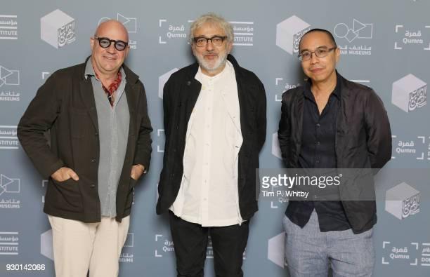 Director Gianfranco Rosi Doha Film Institute Artistic Advisor Elia Suleiman and director Apichatpong Weerasethakul attends the Footprints screening...