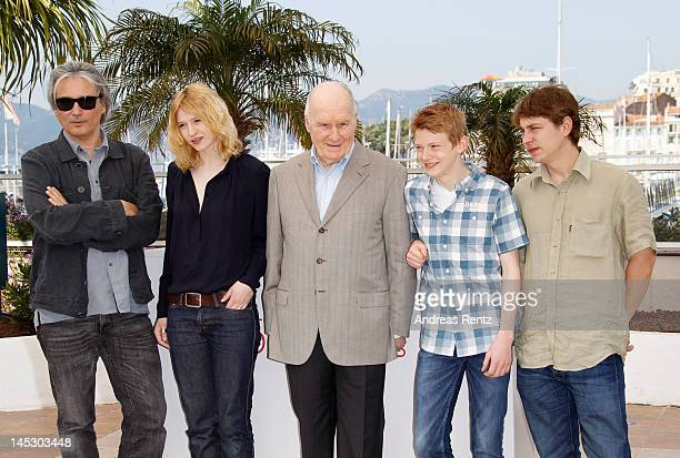 Director Giles Bourdos actors Christa Theret Michel Bouquet Thomas Doret and Vincent Rottiers pose at the 'Renoir'' photocall during the 65th Annual...