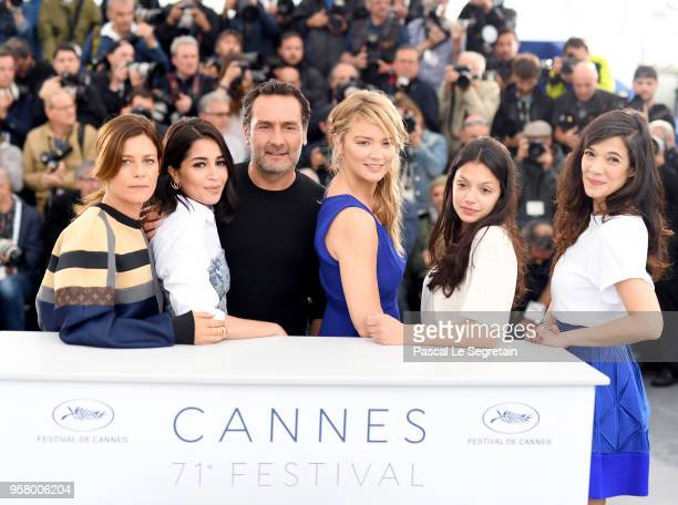 Director Gilles Lellouche poses with actresses Marina Fois Leila Bekhti Virginie Efira Noee Abita and Melanie Doutey at the photocall for Sink Or...
