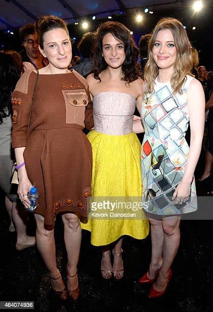 Director Gillian Robespierre actress Jenny Slate and actress Gillian Jacobs attend the 2015 Film Independent Spirit Awards at Santa Monica Beach on...