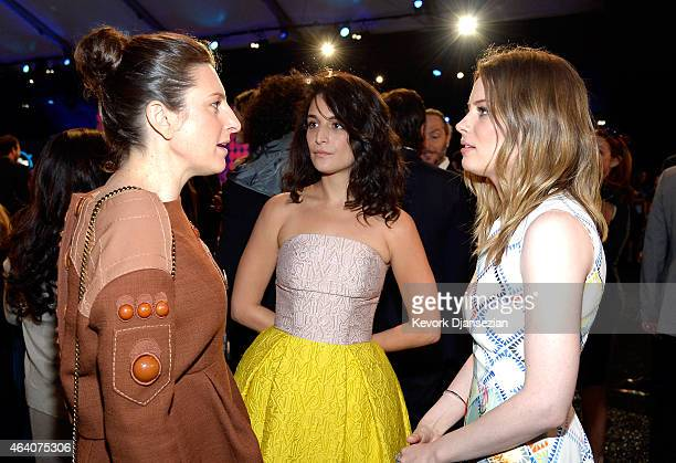 Director Gillian Robespierre actresses Jenny Slate and Gillian Jacobs attend the 2015 Film Independent Spirit Awards at Santa Monica Beach on...