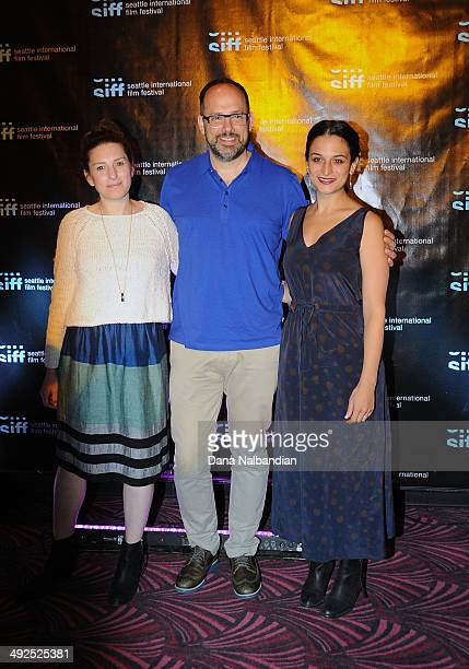 Director Gillian Robespierre SIFF Director Carl Spence and Actress Jenny Slate at the Egptian Theater screening of Obvious Child on May 20 2014 in...