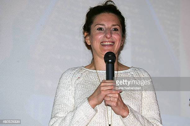 Director Gillian Robespierre talks on stage at the Egptian Theater screening of Obvious Child on May 20 2014 in Seattle Washington