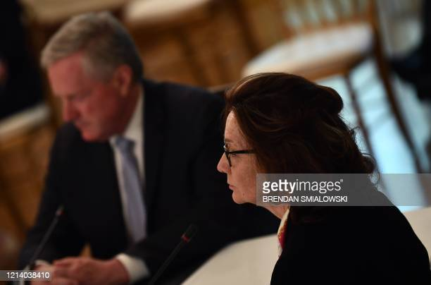 CIA Director Gina Haspel looks on as President Donald Trump meets with his cabinet on May 19 2020 in the Cabinet Room of the White House in...