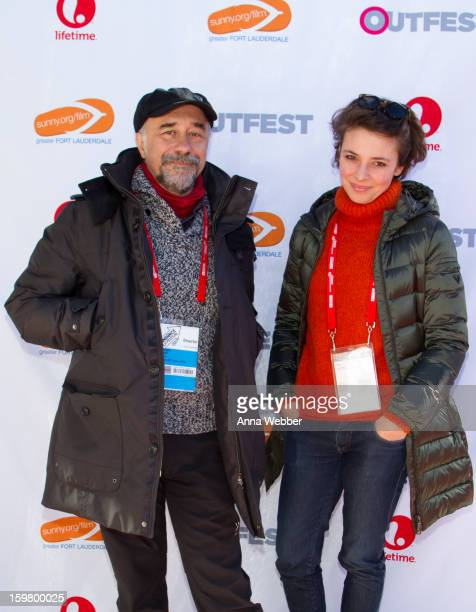 Director Giorgio Diritti and Actress Jasmine Trinca arrive to Outfest Queer Brunch 2013 Park City on January 20 2013 in Park City Utah