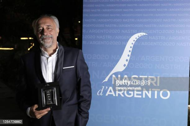 Director Giorgio Diritti poses whith awards during the 74th edition of the Nastri D'Argento 2020 on July 06 2020 in Rome Italy