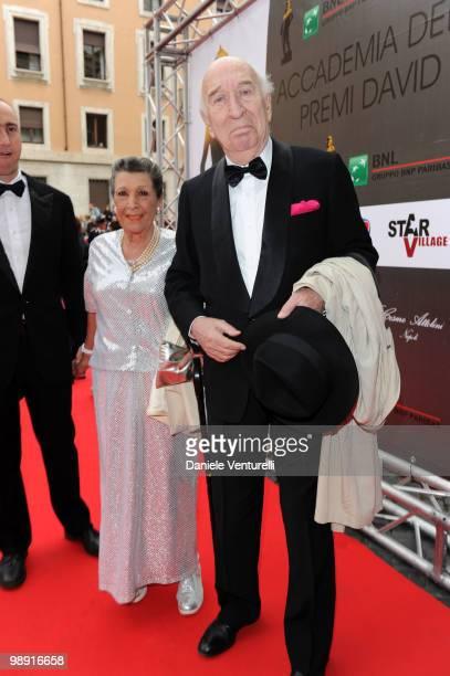 Director Giuliano Montaldo and his wife attend the 'David Di Donatello' movie awards at the Auditorium Conciliazione on May 7 2010 in Rome Italy