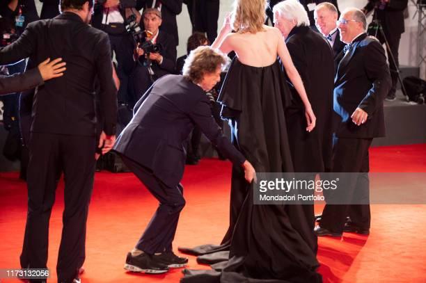 "Director Giuseppe Capotondi , Claes Bang, Mick Jagger, Elizabeth Debicki and Donald Sutherland walk the red carpet ahead of the ""The Burnt Orange..."