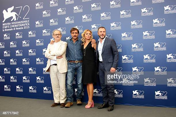 Director Giuseppe Gaudino actors Adriano Giannini Valeria Golino and Massimiliano Gallo attend a photocall for 'Per Amor Vostro' during the 72nd...