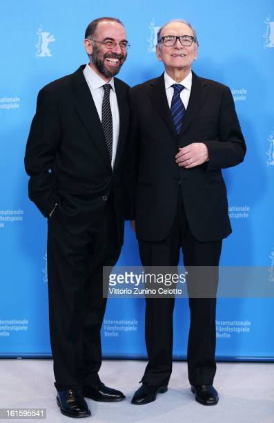 Director Giuseppe Tornatore and composer Ennio Morricone attend the 'The Best Offer' Photocall during the 63rd Berlinale International Film Festival...