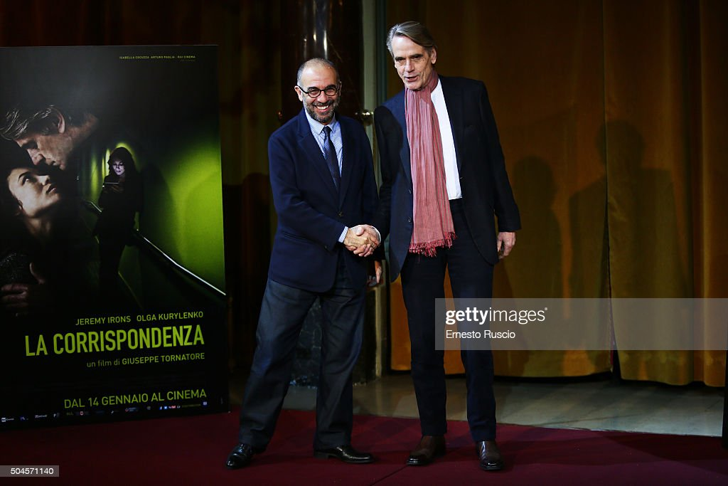 Director Giuseppe Tornatore and Jeremy Irons attend the 'La Corrispondenza' photocall at Hotel St Regis on January 11, 2016 in Rome, Italy.