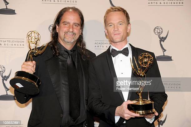 Director Glenn Weiss poses with Outstanding Special Class Program award for '63rd Annual Tony Awards' and actor Neil Patrick Harris poses with...