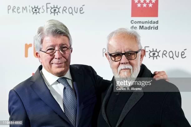 Director Gonzalo Suarez and EGEDA President Enrique Cerezo attend 'Jose Maria Forque' Awards Golden Medal presentation at Palacio de Santoña on...