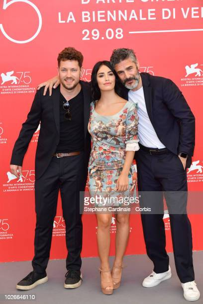 Director Gonzalo Tobal actress Lali Esposito and actor Leonardo Sbaraglia attend 'Acusada ' photocall during the 75th Venice Film Festival at Sala...