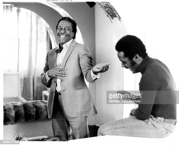 Director Gordon Parks and actor Richard Roundtree on set of the movie 'Shaft's Big Score' circa 1972