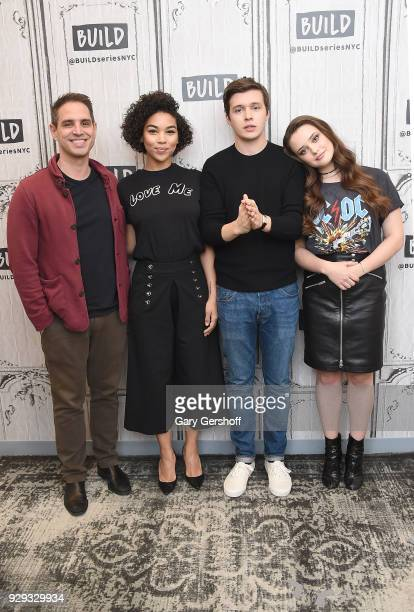 Director Greg Berlanti actors Alexandra Shipp Nick Robinson and Katherine Langford at Build Studio on March 8 2018 in New York City